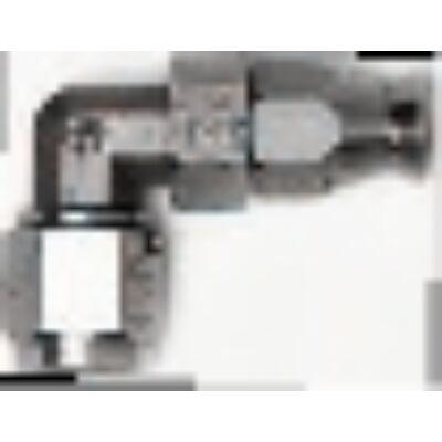 Többszörhasználatos csatlakozó tefloncsőre forgócsatlakozóval 90° menet: 7/16 UNF cső: D-04 anyaga: acél